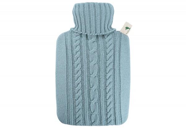 Wärmflasche Klassik 1,8l Strickbezug pastell-blau