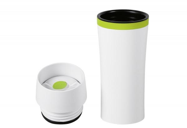 Isolierbecher Travel Mug Fun 0,36l weiß/grün