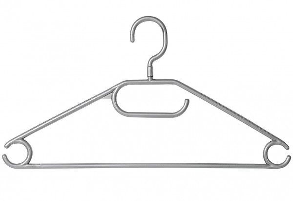 Kleiderbügel mit Steg Kunststoff 40cm grau 10er Set