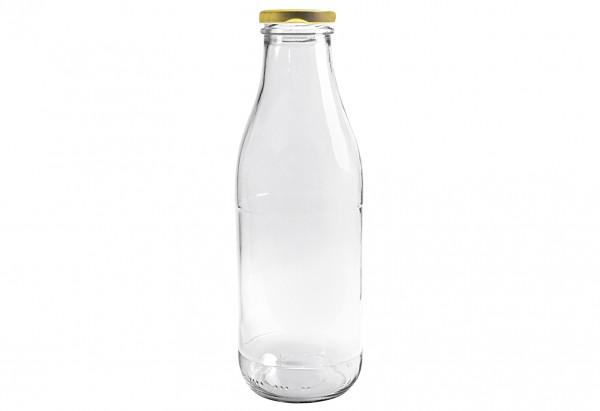 Saftflasche 1000 ml mit Deckel 43mm TO past. Gold