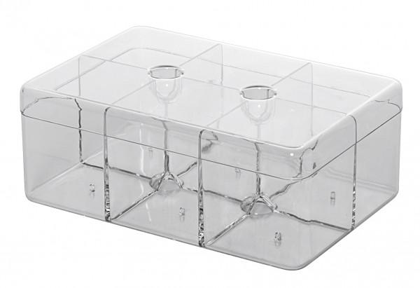 Teedose rechteckig mit 6 Fächer 21,7x14,8x8,5cm transparent