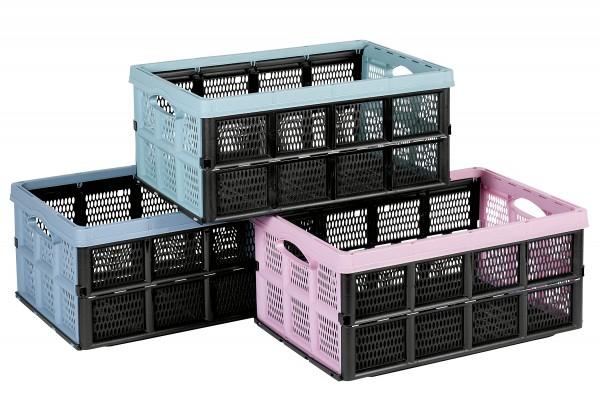 Klappbox Kunststoff 32l farbig sortiert 51x34x23cm