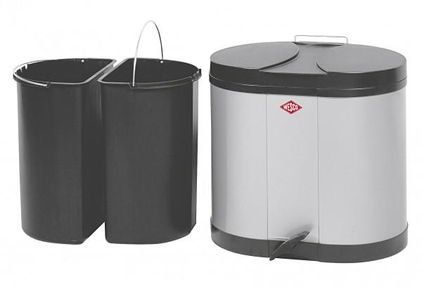 Abfallbehälter Ökosammler 2x15ltr. 43x36x45cm silber