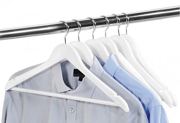 Kleiderbügel mit Steg FSC Lotusholz 44,5cm weiß 6er Pack