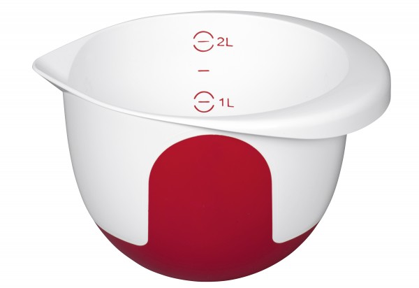 Rührschüssel Mix & Bake 2l mit Deckel weiß/rot