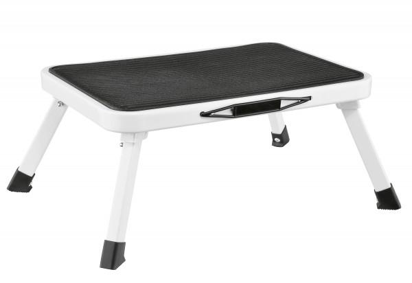 Klapptritt 38x26x17,5cm Stahl/Kunststoff schwarz/weiß