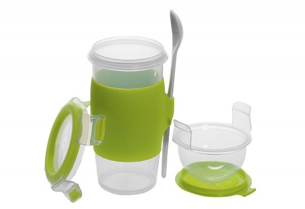 "Yoghurt Mug ""Clip & Go"" mit Löffel"