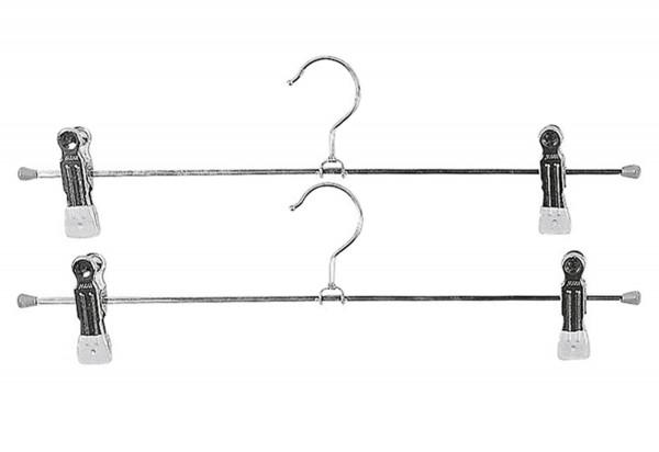 Klemm-Hosenbügel Superclip Metall mit 2 Clips 40cm silber 2er Pack