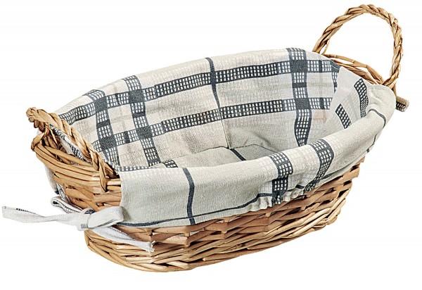 Brotkorb mit Textileinlage oval 32x23x13cm