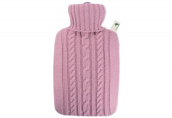 Wärmflasche Klassik 1,8l Strickbezug pastell-rosa