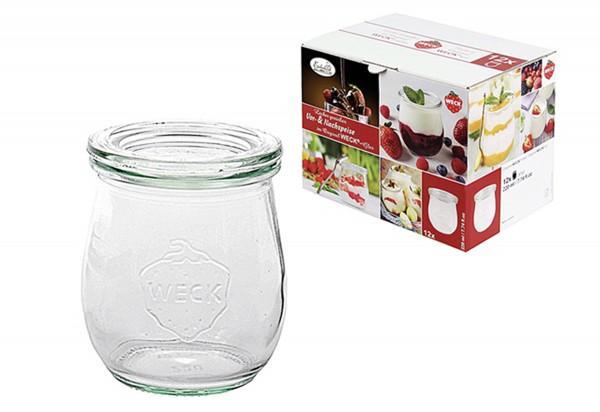 Rundrandglas Einkochwelt Vor-und Nachspeisen Tulpe 220 ml 12er Karton mit Deckel 60mm