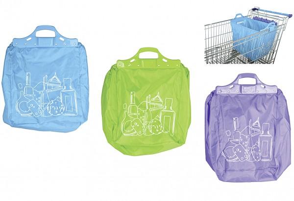 Einkaufswagentasche 40L faltbar farblich sortiert
