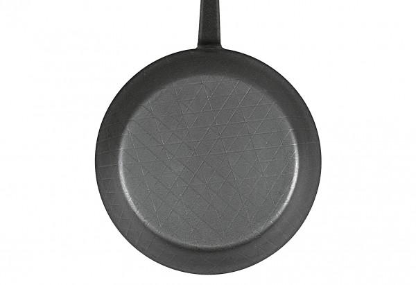 Servierpfanne schmiedeeisern Ø24cm mit gebogenem Stiel und hohem Rand schwarz