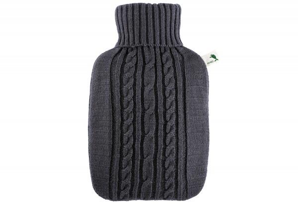 Wärmflasche Klassik 1,8l Strickbezug dunkelgrau
