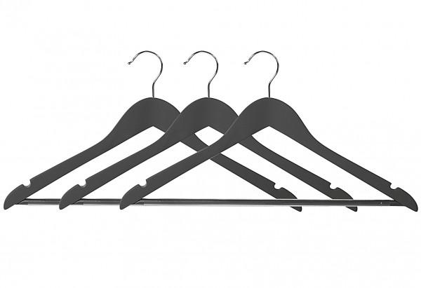 Kleiderbügel mit Steg dunkelgrau 3er Set