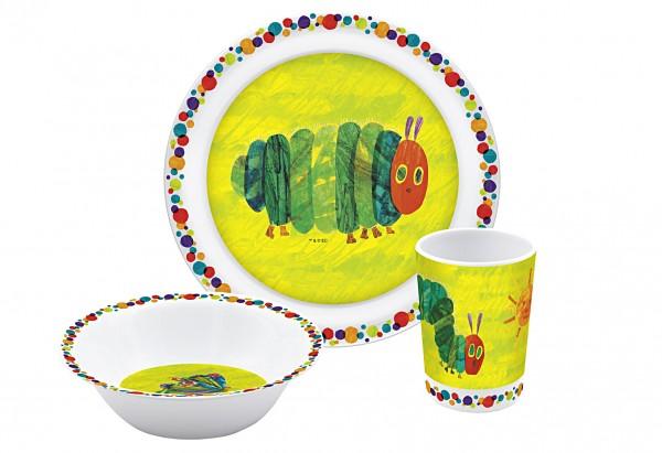 Kinder-Geschirrset Raupe Nimmersatt Melamin 3-tlg