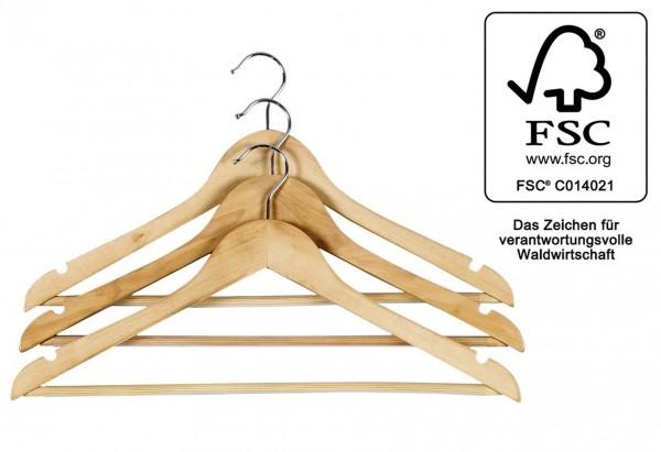Kleiderbügel mit rutschfestem Steg FSC Rockkerben 3Stück