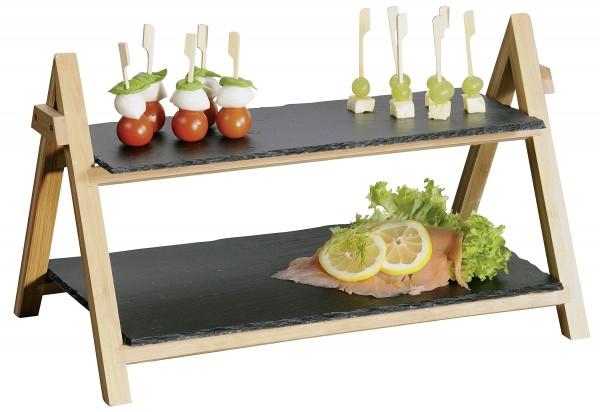 Etagere 2stöckig Platten Schiefer 45 x 6 x 31 cm