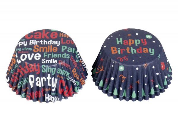 Papierbackförmchen Muffin Happy Birthday blau
