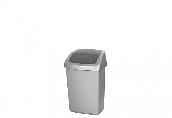 Abfallbehälter Swing-Top mit Schwingdeckel 10 l silber / anthrazit