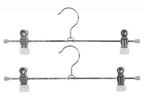 Klemm-Hosenbügel Clip Metall mit 2 Clips 35cm silber 2er Pack