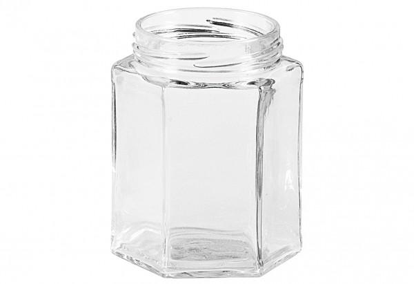 Schraubdeckelglas 6-eckig 191 ml ohne Deckel 58mm TO
